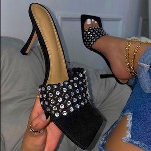 New jeweled black mule